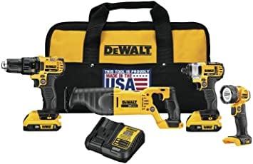 DEWALT 20V MAX Combo Kit – סט כלים כולל סוללות, מטען, פנס, תיק, מסור חרב, מברגה/מקדחה ומברגת אימפקט רק ב₪1,256