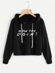 Slogan Print Hoodie -SheIn(Sheinside) HOW U DOIN