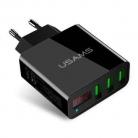 "USAMS  3A 3 USB Ports EU Plug   מטען מהיר 3 יציאות + תצוגת לד רק ב 27ש""ח"