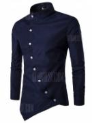 Men Trendy Asymmetric Stand Collar Long Sleeve Shirt