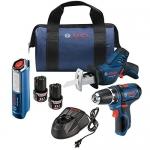 "Bosch 12V Max 3-Tool Combo – מברגה/מקדחה 12V, מסור חשמלי, סוללות, אור עבודה, מטען ותיק של בוש בצלילת מחיר! 1021 ש""ח"