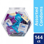 Condoms, Natural Latex, Durex Condom Bulk Variety Fish Bowl 144 Count, Extra Lubricated, Ultra Fine, Dotted, and Large Male Condoms: Gateway