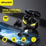 AWEI T35 משחקי אוזניות TWS ידיים משלוח השהיה נמוכה HiFi עמוק בס קול אמיתי אלחוטי סטריאו אוזניות עם מיקרופון