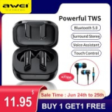 11.97US $ 58% OFF Awei T36 TWS Wireless Earphone Bluetooth 5.0 Mini Earbuds With Microphone in Ear Headset Touch Contral Handsfree For iPhone Bluetooth Earphones & Headphones 